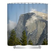 Clouds around Half Dome  Shower Curtain by Jim and Emily Bush