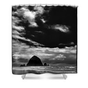 Clouds Over Haystack Rock On Cannon Beach Shower Curtain by David Patterson