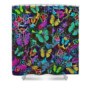 Cloured Butterfly Explosion Shower Curtain by Alixandra Mullins