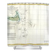 Coast Survey Map Of Nantucket And The Davis Shoals Shower Curtain by Paul Fearn