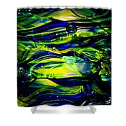 Cobalt Blue And Yellow Glass Macro Abstact Shower Curtain by David Patterson
