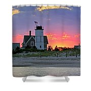 Cocktail Hour at Sandy Neck Lighthouse Shower Curtain by Charles Harden