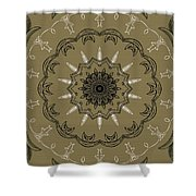 Coffee Flowers 3 Olive Ornate Medallion Shower Curtain by Angelina Vick