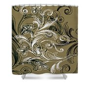 Coffee Flowers 4 Olive Shower Curtain by Angelina Vick