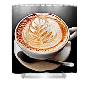Coffee Latte With Foam Art Shower Curtain by Elena Elisseeva
