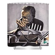 Coffee With Jesus Shower Curtain by Anthony Falbo