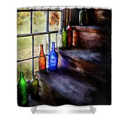 Collector - Bottle - A Collection Of Bottles Shower Curtain by Mike Savad