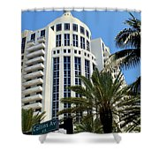 Collins Ave Shower Curtain by Karen Wiles