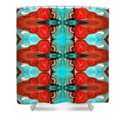 Color Chant - Red And Aqua Pattern Art By Sharon Cummings Shower Curtain by Sharon Cummings