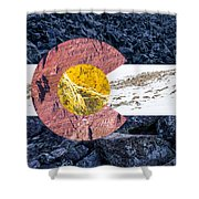 Colorado State Flag With Mountain Textures Shower Curtain by Aaron Spong