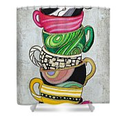 Colorful Coffee Cups Mugs Hot Cuppa Stacked II By Romi And Megan Shower Curtain by Megan Duncanson