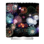 Colorful Fireworks Of Various Colors In Night Sky Shower Curtain by Stephan Pietzko