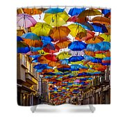 Colorful Floating Umbrellas Shower Curtain by Marco Oliveira