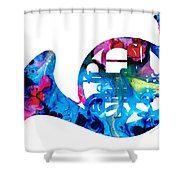 Colorful French Horn 2 - Cool Colors Abstract Art Sharon Cummings Shower Curtain by Sharon Cummings