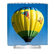 Colorful Hot Air Balloon Over Vermont Shower Curtain by Edward Fielding