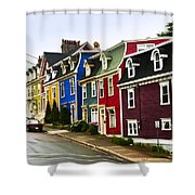 Colorful houses in Newfoundland Shower Curtain by Elena Elisseeva