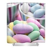 Colorful Pastel Jordan Almond Candy Shower Curtain by Edward Fielding