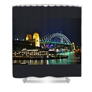 Colorful Sydney Harbour Bridge By Night Shower Curtain by Kaye Menner