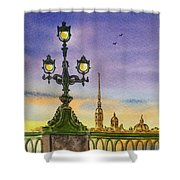 Colors Of Russia Bridge Light In Saint Petersburg Shower Curtain by Irina Sztukowski