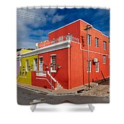 colourful buildings in Bo-Kaap Shower Curtain by Juergen Ritterbach