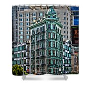 Columbus Tower In San Francisco Shower Curtain by RicardMN Photography