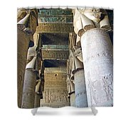 Columns In Temple Of Hathor Near Dendera In Qena-egypt Shower Curtain by Ruth Hager