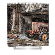 Comfortable chaos - Old tractor at Rest - Agricultural Machinary - Old Barn Shower Curtain by Gary Heller