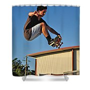 Coming In To Land - Action  Shower Curtain by Kaye Menner