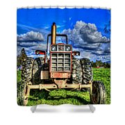 Coming Out Of A Heavy Action Tractor Shower Curtain by Eti Reid