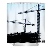 construction cranes Shower Curtain by Antony McAulay