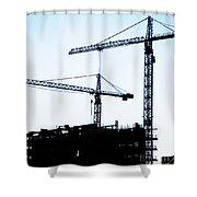 Construction Cranes Shower Curtain by Antony McAulay