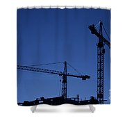 construction cranes at dusk Shower Curtain by Antony McAulay