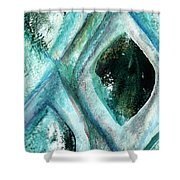 Contemporary Abstract- Teal Drops Shower Curtain by Linda Woods