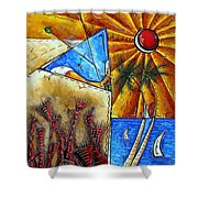 Contemporary Coastal Nautical Tropical Martin Art Original Sailboat Painting Ocean View By Madart Shower Curtain by Megan Duncanson