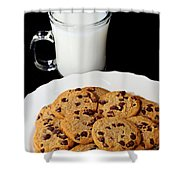 Cookies - Milk - Chocolate Chip - Baker Shower Curtain by Andee Design