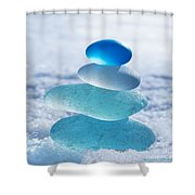 Cool Blues Shower Curtain by Barbara McMahon