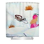 Cool  Winter Friend - Snowman - Fun Shower Curtain by Barbara Griffin