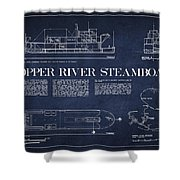 Copper River Steamboats Blueprint Shower Curtain by Aged Pixel