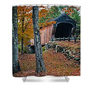Corbin Covered Bridge Newport New Hampshire Shower Curtain by Edward Fielding