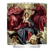 Coronation Of The Virgin Shower Curtain by Diego Velazquez