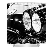 Corvette Picture - Black And White C1 First Generation Shower Curtain by Paul Velgos