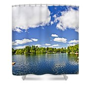 Cottage Lake With Diving Platform And Dock Shower Curtain by Elena Elisseeva
