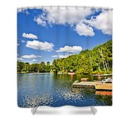 Cottages On Lake With Docks Shower Curtain by Elena Elisseeva