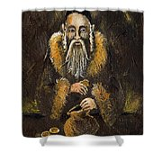 Counting The Gold Coins Shower Curtain by Angel  Tarantella