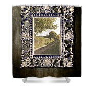 Country Lane Reflected In Mirror Shower Curtain by Amanda And Christopher Elwell