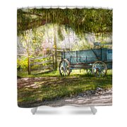 Country - The old wagon out back  Shower Curtain by Mike Savad