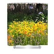 Countryside Cottage Garden 5D24560 long Shower Curtain by Wingsdomain Art and Photography