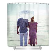 Couple On The Beach Shower Curtain by Joana Kruse