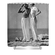 Couple On The Maine Shore Shower Curtain by Underwood Archives