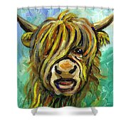Cow Face 101 Shower Curtain by Linda Mears